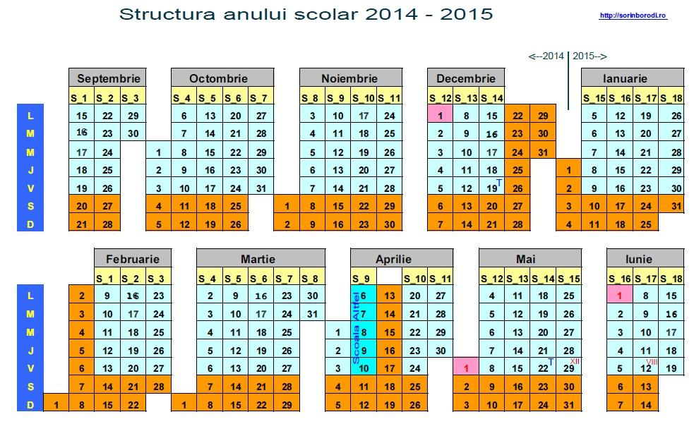 Calendarul anului scolar 2014 – 2015   De-a valma...