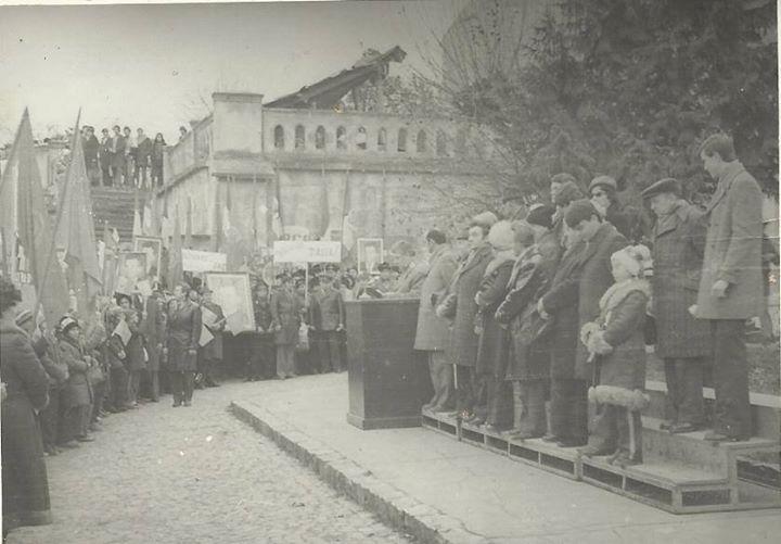 110 Dej, manifestatie impotriva inarmarii nucleare, 1978_ Multumim, Chira Claudiu, pentru poza