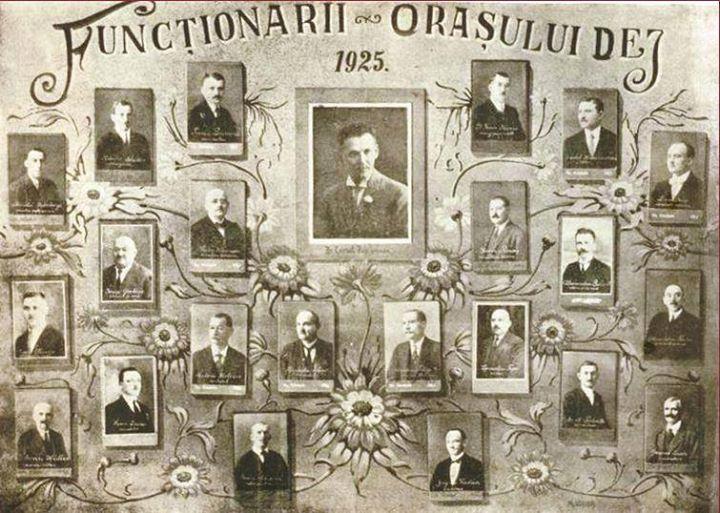 118 Dej - functionarii la 1925_ In centru, primarul Pop Cornel_ Fotografie de la  Buburuz Mihai Itock, m