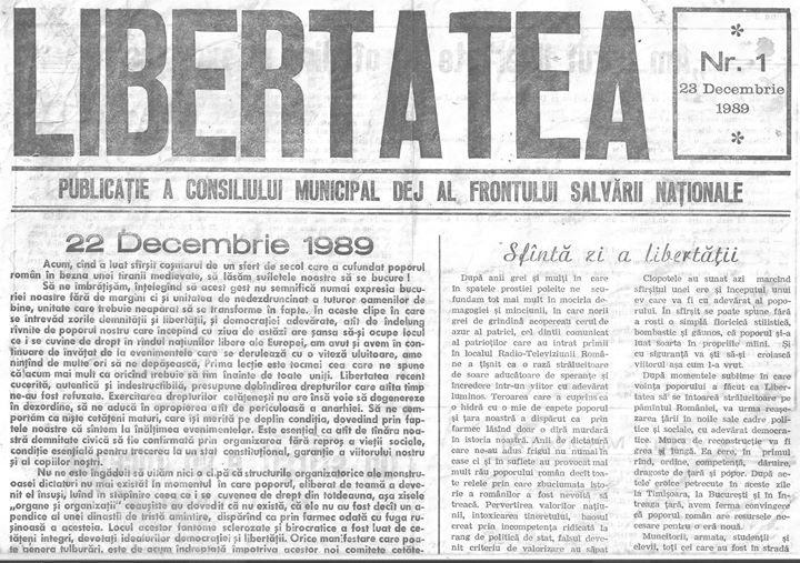 36 Primul număr din primul ziar din Dej apărut în 23 decembrie 1989 - partea I
