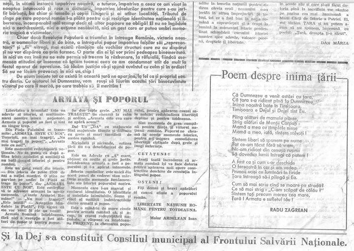 38 Primul număr din primul ziar din Dej apărut în 23 decembrie 1989 - partea II