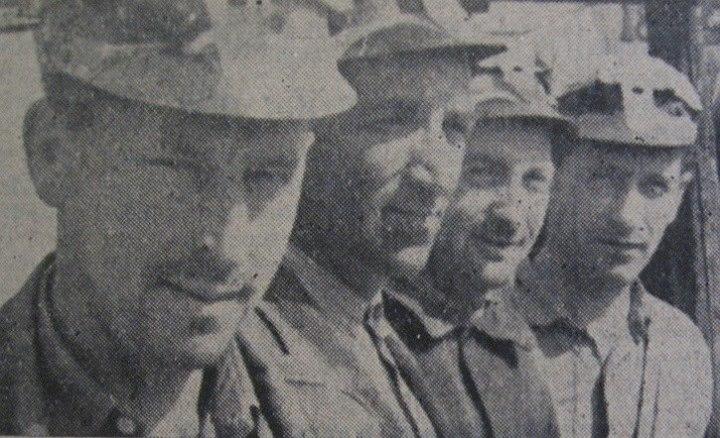 40 Minerii Vasile Todica, Ştefan Bordaş, Vasile V_ Moldovan, Ion Câţcăuan de la Salina Ocna Dej, 1962