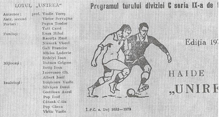 69 Dej, echipa de fotbal _Unirea_ in anii '70