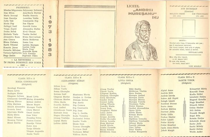 74 Dej, absolventii Liceului Andrei Muresanu 1973