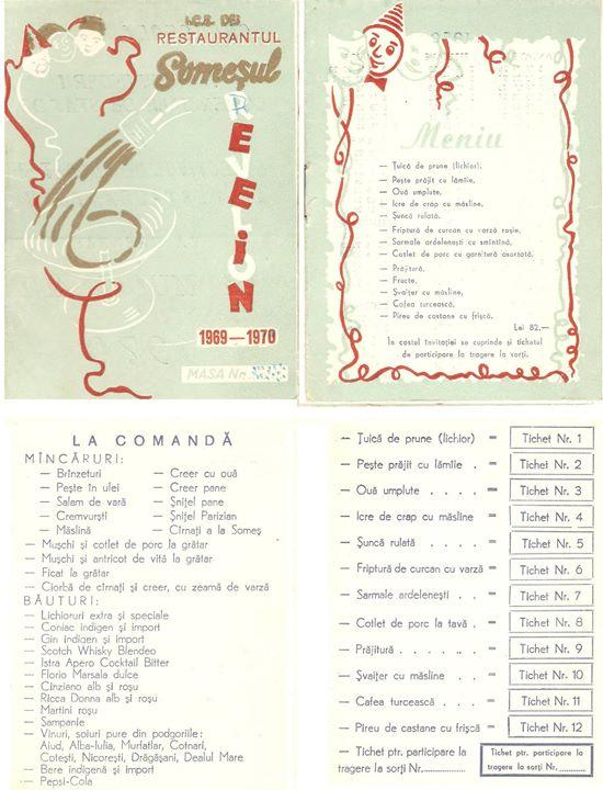 90 Meniu la Revelionul 1969_1970, la restaurantul _Somesul_ din Dej_ Pret=82 lei_ _)
