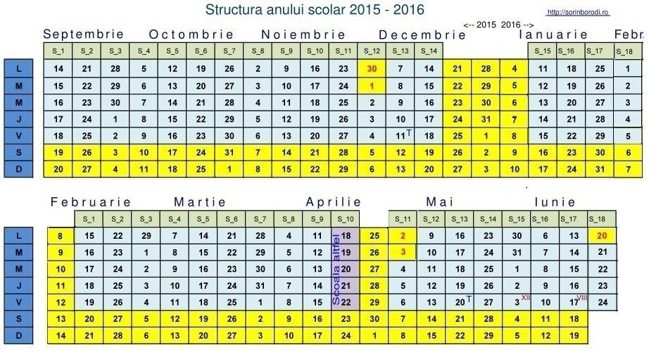 Calendar cu anul scolar 2015 – 2016   De-a valma...