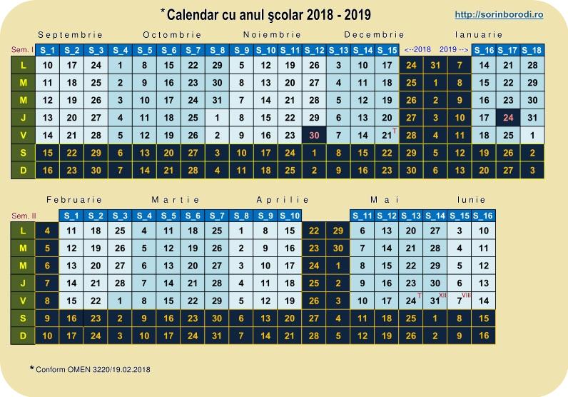 Cu Calendar 2019 Calendar cu anul scolar 2018 2019   De a valma